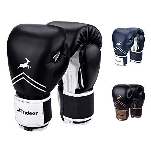 Trideer Pro Grade Boxing Gloves, Kickboxing Bagwork Gel Sparring Training Gloves, Muay Thai Style Punching Bag Mitts, Fight Gloves Men & Women (Black & White, 10 oz)
