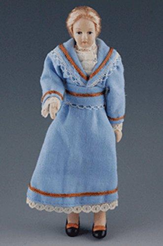 Unbekannt Frau im blauen Kleid Blonde Haare Puppe für Puppenhaus Miniatur 1:12