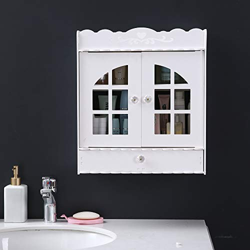 Wall Mount Bathroom Cabinet - Non-Perforated PVC Wash Cabinet with 1 Drawer Storage Cabinet (White)