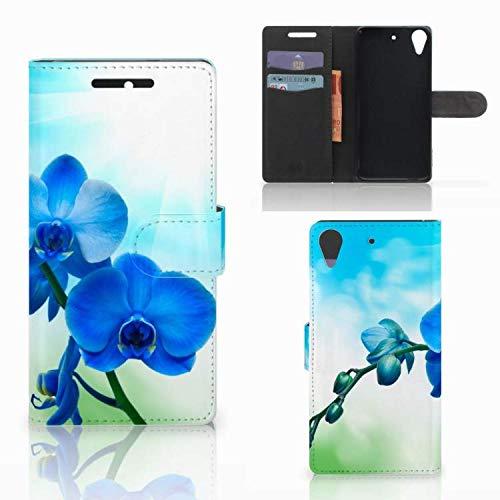 B2Ctelecom Handyhüllen für HTC Desire 628 Klapphülle Orchidee Blauw - Geschenk für Mutter Geburtstagsgeschenk