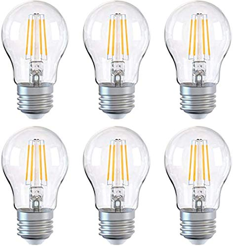 YPLDM Bombilla E27, Bombilla LED Regulable, Bombillas de Ahorro de energía A60 6W (Equivalente a 60W), Bombilla de Tornillo de filamento Edison, 6 Pack,Clear
