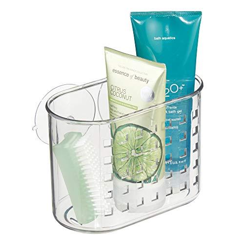InterDesign Basic panier de douche, valet de douche en plastique sans perçage avec ventouses, transparent