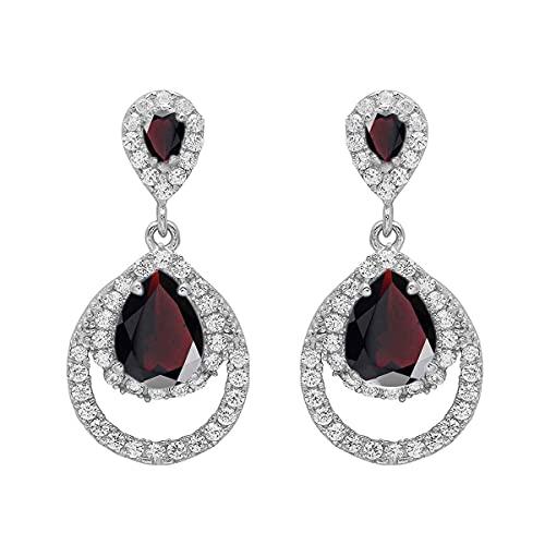 55Cara Elija su forma de pera piedra preciosa del color Los pendientes de gota y cuelga los pendientes de plata de ley 925 joyas de regalo para las mujeres