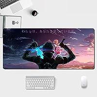 刀剑神域 S-Word Art O-Nline 鼠标垫 大型 超大型 光学式 适用于激光式 Fps游戏 采用橡胶材质 水洗 防滑 耐用性 高档 时尚 鼠标垫 键盘垫 桌面垫 办公室/自家通用-900x400x3mm-A_700X300X3MM