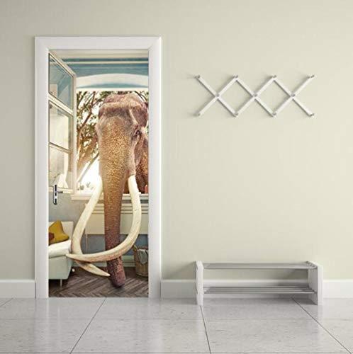 Muurtattoo, 3D-muursticker, motief: olifant, gebroken raam, voor de deur, waterdicht, afneembaar, muursticker, woonkamer, slaapkamer, huis, serre, 95 x 215 cm