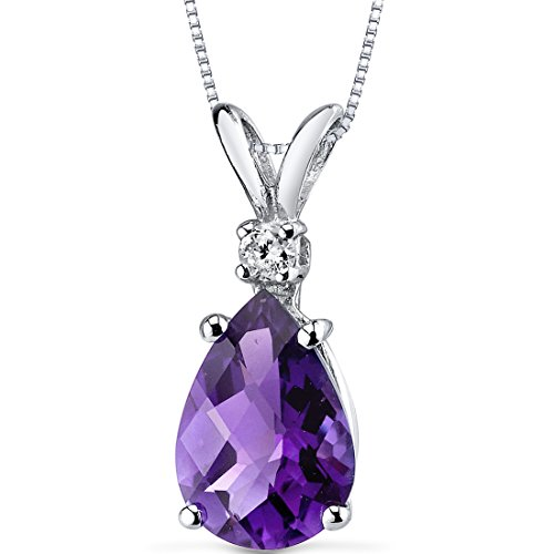 Peora Amethyst with Genuine Diamond Pendant in 14K White Gold, Elegant Teardrop Solitaire, Pear Shape, 10x7mm, 1.60 Carats total