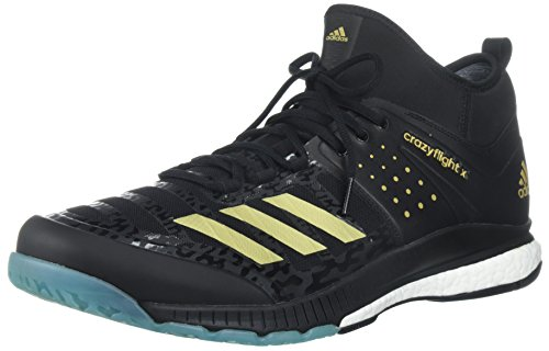 adidas Performance Men's Crazyflight X Mid Volleyball Shoes, Core Black/Gold Met/Icey Blue, 8 M US