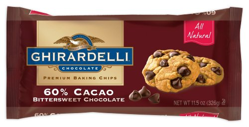 Ghirardelli Chocolate Baking Chips, 60% Cacao Bittersweet Chocolate, 11.5-Ounce Bags (Pack of 6)
