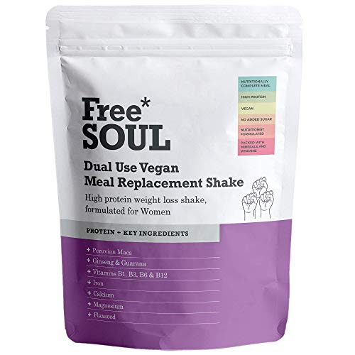 Free Soul Dual Use High Protein Vegan Meal Replacement Powder for Weight Loss Control for Women with 25 Added Vitamins and Minerals | 15 Servings | 510g (Chocolate)