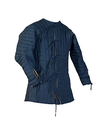 Medieval Thick Padded Half Length Full Sleeves Gambeson Coat Aketon Jacket Armor, Cotton Fabric, Blue - Medium
