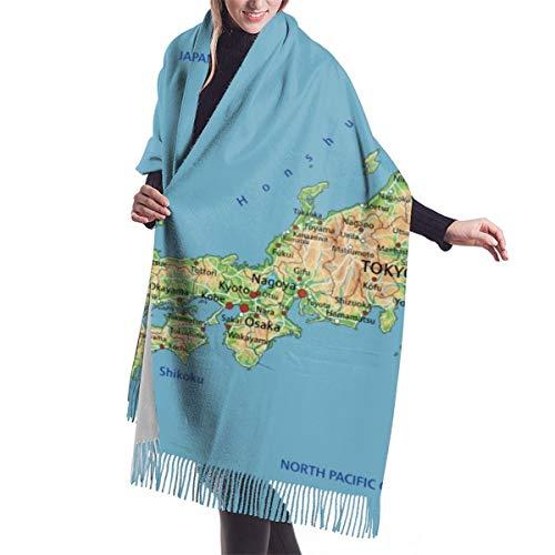 Blived Fransenschal für den Winter,weich Langer Schal schal für Frauen,Kaschmir-ähnlich,Sea High Detaillierte Japan Physische Karte Japanische Hokkaido Damen Umschlagtuch Warm Schal für Weihnachten