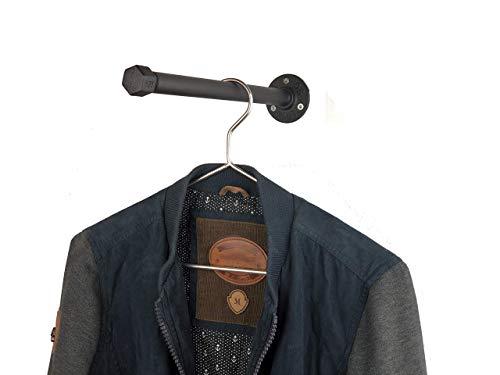 Kleiderstange 30 cm sehr stabil schwarz aus Metall im Industrial Design Vintage Look - Garderobe - Wandmontage