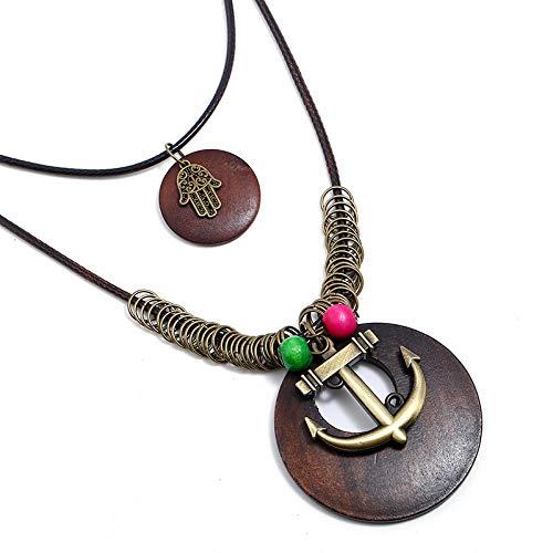 Collar largo de aleación de bronce vintage para mujer, collar largo europeo y americano, collar de varias capas cruzadas