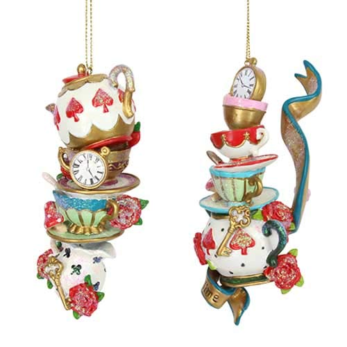 Gisela Graham : Teapot Cups & Saucers Decorations (Set of 2)
