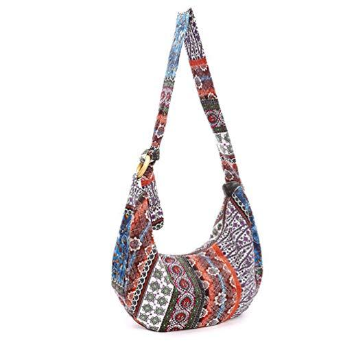 VALICLUD Bolsa feminina estilo hippie de ombro a tiracolo estilo hippie, bolsa mensageiro com grande capacidade, estampa floral