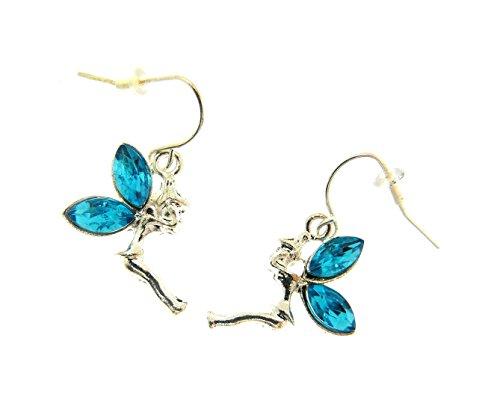 pendientes de hadas de color hermoso del metal plata con alas de color azul -
