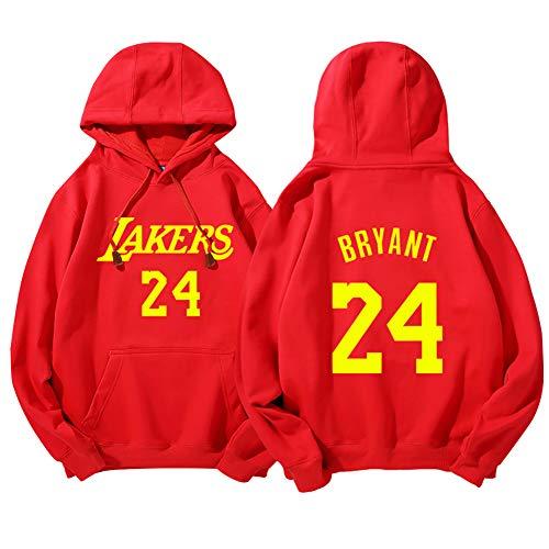 Felpa da Basket da Uomo, Adatta per Lakers Kobe Bryant Kevin Durant Tracy McGrady Loose Fashion Basket Sportswear, T-Shirt in Felpa da Esterno-Kobe Red-L