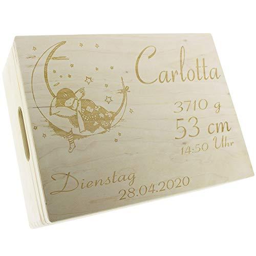 XL Erinnerungsbox Baby 40 x 30 cm Holzkiste mit Deckel zur Geburt - Individuell graviert mit Namen - Geburtsdatum - Gewicht und Größe - Geschenk zur Geburt personalisiert - Memory Box