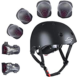 """1.PLEASE BE CAREFULHelmet compatible head circumference: (48cm-52cm / 18.9""""-21"""") for 3 to 8 years old kids.Note:Please according to head circumference to choose. 2.7 pieces protective gear set:Helmet /2 Elbow pads/2 knee pads and 2 wrist guards ,7pcs..."""