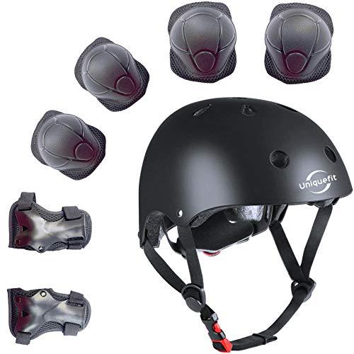Kinder 7 Stücke Outdoor Sports Schutzausrüstung Set Jungen Mädchen Fahrradhelm Sicherheit Pads Set [Knie Ellbogenschützer und Handgelenkschutz] für Roller Scooter Skateboard Fahrrad (Schwarz)