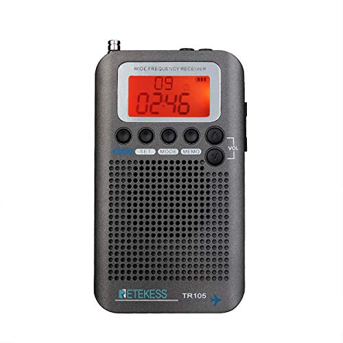 Retekess TR105 Radio digitale portatile Air Band Radio FM AM SW CB AIR VHF Radio Sintonizzatore Digitale con Funzione di Temporizzatore e Orologio (Grigio)