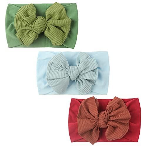 N/AB Juego de 3 diademas de algodón con diseño de flores para bebé, niñas, con arco Nº 04 Talla única
