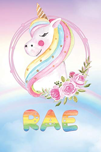 Rae: Rae\'s Unicorn Personal Custom Named Diary Planner Perpetual Calander Notebook Journal 6x9 Personalized Customized Gift For Someone Who\'s Surname is Rae Or First Name Is Rae