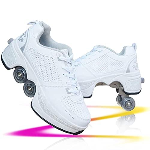 JZIYH Zapatillas con Ruedas para Niños Ajustable Rueda Roller Automática De Skate Zapatos Patines Deportes Zapatos Sneakers Running Shoes para Unisex Niños Niñas