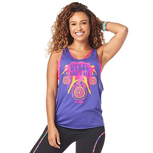 Zumba Dance Atlético Estampado Fitness Camiseta Mujer Sueltas de Entrenamiento Top Deportivo, Grape, X-Small