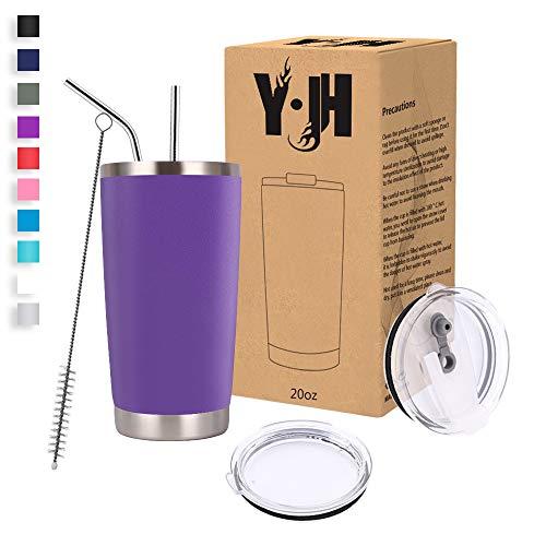 Y·JH 20oz (550ml) Bicchiere da Viaggio Tazza da caffè a Doppia Parete isolata sottovuoto Tazza da caffè in Acciaio Inossidabile con 2 coperchi antispruzzo, 2 cannucce, Senza BPA - Viola