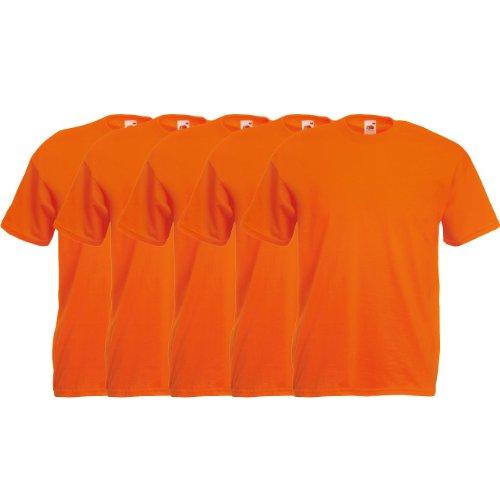 Fruit of the Loom Original T Rundhals T-Shirt F140 5er Pack- Gr. XL, Orange
