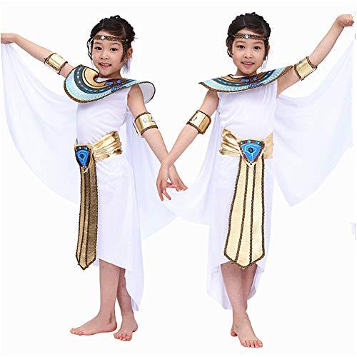 Proumhang Disfraces Disfraces de Halloween Nacionalidad Faraón Cleopatra Espectáculo Egipcio Niños Princesa Princesa Traje-Niña-S (para 105-120 cm)