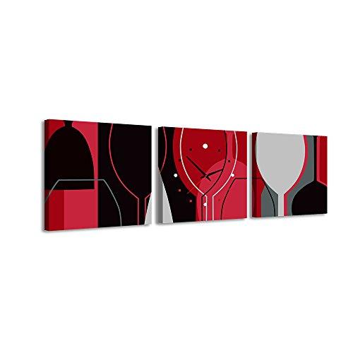 PROXTA Quadrato Orologio de Parete Bicchiere da Vino contorni Contorno Nero Rosso Bianco Colori Grigio