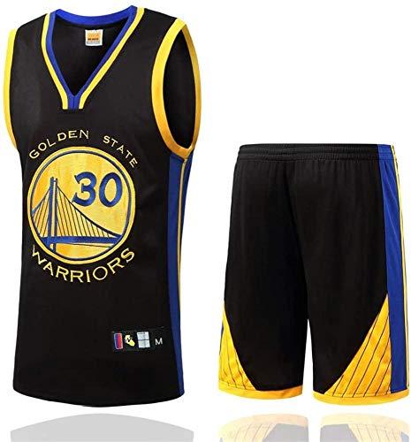AZBYC Camiseta De Baloncesto para Hombres Camiseta De Baloncesto Golden State Warriors NO.30 Curry Camiseta De Baloncesto para Adultos Y Niños, Incluyendo Pantalones Cortos,Black-XXXXL