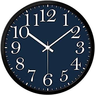 Kejing Silent Decorative Ink-Blue Colour Silent Wall Clock, 30-35CM Easy to Read for Home/Office/School/Kitchen/Bedroom/Living Room Clock Accurate. (Color : White, Size : 3535cm)