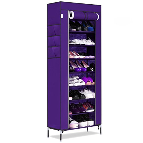 10-Tier Portable Large Capacity Free Standing Shoe Rack Shelf Storage Shoes Closet Organizer Cabinet with Dustproof Cover and Side Pockets (Purple)