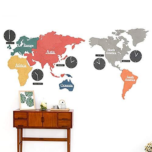 Bradoner 2,2 metros de color mapa del mundo creativo reloj de pared de la sala de estar moderno nórdico moda silenciosa reloj de pared