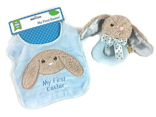 Baby Boys First Easter Keepsake 2 Items; 1 Bunny Plush Washable Bib, 1 Soft And Cuddly Blue Plush Bunny Rattle