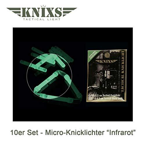 10er Set - Micro-/ Mini-Knicklichter/Leuchstab/Knicklicht - Infrarot (IR) für Nachtsichtgeräte/Restlichtverstärker und Outdoor-Anwendungen (Militärstandard)