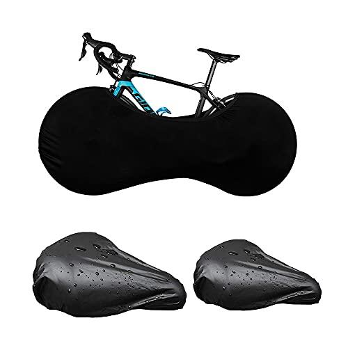 MOPOIN Fahrradabdeckung, Fahrradschutzhülle Abdeckung Fahrradgarage Anti Staub, Hohe Elastische Reifenpaket, Kratzfest Fahrradplane mit Cycle Sattelbezüge für Mountainbikes Falträder MTB Rennrad