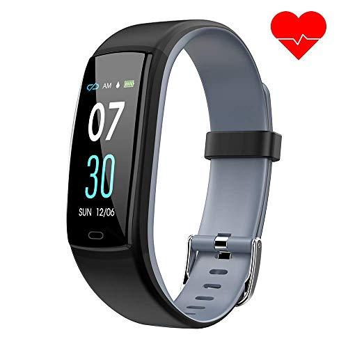 Dwfit Fitness Armband mit Pulsmesser,Wasserdicht Blutdruckmesser Fitness Tracker Aktivitätstracker Pulsuhren Schrittzähler,Uhr Smartwatch mit Schlafmonitor für iOS Android Handy(Grau)