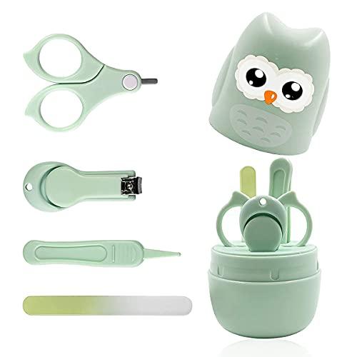 Baby Nagelpflegeset Neugeborene,nail clippers newborn set, baby nail clippers set,4-in-1-Baby-Nagelpflege-Set, Baby-Nagelknipser, Schere, Nagelfeile & Pinzette,Säuglinge,Grün.