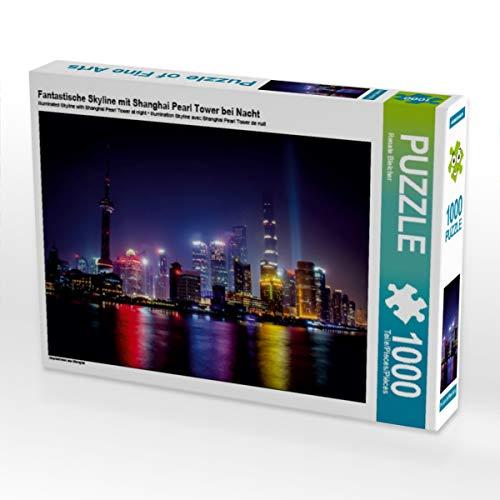 CALVENDO Puzzle Fantastische Skyline mit Shanghai Pearl Tower bei Nacht 1000 Teile Lege-Größe 64 x 48 cm Foto-Puzzle Bild von Renate Bleicher