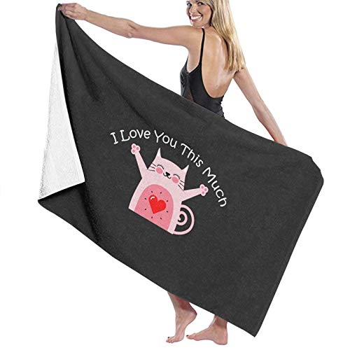 N\ Toalla de baño de secado rápido con texto en inglés 'I Love You This Much Cat