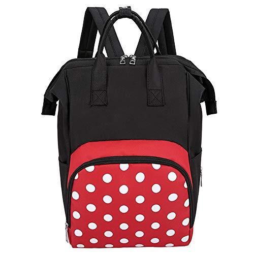 ZJML Babywindelrucksack, Mutter- Und Babyrucksack, Lässige Wickeltasche, Große Kapazität Und Großes Öffnungsdesign, Schwarz Rot Mit Isolationstasche