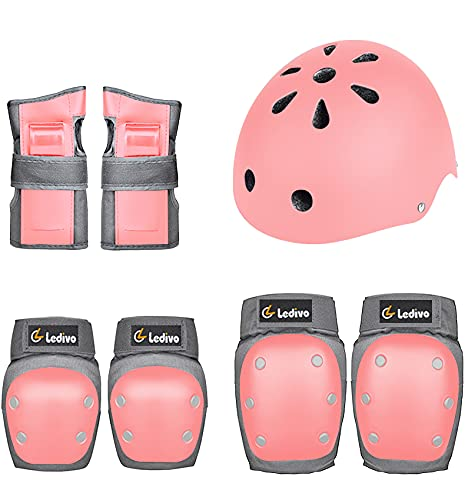 LEDIVO Kids Adult Helmet Knee Pads Elbow Pads Wrist Guards 7pcs Protective Gear Set for Youth Girl Boy Multi Sports Skateboarding Inline Roller Skating Cycling Biking BMX Bicycle Scooter