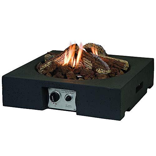 MANIA Feuertisch für den Garten - Mobile Gas Feuerstelle ohne Rauch, Funken, Glut & Asche - Gaskamin Outdoor mit 12 kW in Betonoptik schwarz 61 x 61x 15 cm - Gasfeuerstelle Terrassenkamin Kaminfeuer