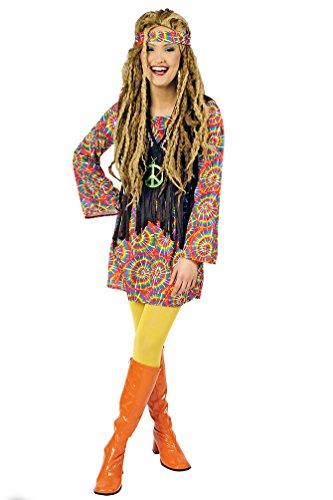 Karneval-Klamotten Hippie Kostüm Damen Flower-Power Peace Kleid mit Weste inkl. Stirnband 60er Jahre Damen-Kostüm Fasching