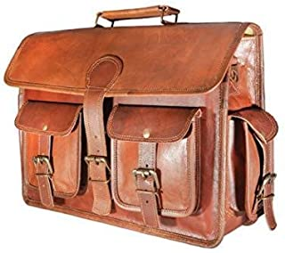 Leather Prime Handmade Genuine Leather Briefcase Laptop college Office Bag for Men