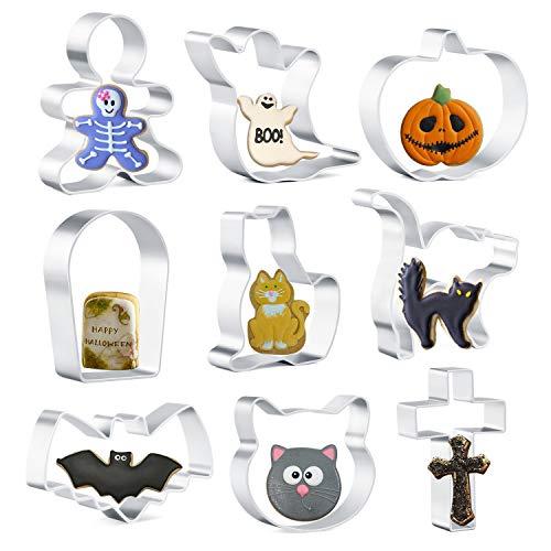 Olywee - Juego de cortadores de galletas para Halloween, diseño de gato, calabaza, gato asustado, fantasma, cara de gato, murciélago, lápida, cruz y pan de jengibre